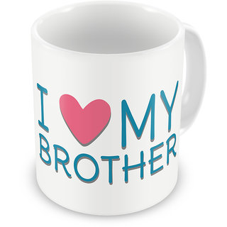 Indigifts Rakhi Gifts for Brother I Love My Bro Digital Printed White Coffee Mug 325 ml - Raksha Bandhan Gifts for Brother on his Birthday and Anniversary