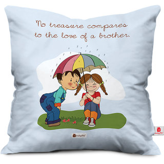 Indigifts Rakhi Gifts for Brother Treasure is Love of Bro Special Blue Cushion Cover 12x12 with Filler - Raksha Bandhan Gifts for Brother on his Birthday and Anniversary