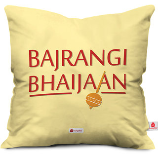 Indigifts Rakhi Gifts for Brother Bajrangi Bhaijaan Quote Printed Cream Cushion Cover 16x16 - Raksha Bandhan Gifts for Brother on his Birthday and Anniversary