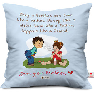 Indigifts Rakhi Gifts for Brother Bro like Father Digital Printed Blue Cushion Cover 18x18 - Raksha Bandhan Gifts for Brother on his Birthday and Anniversary
