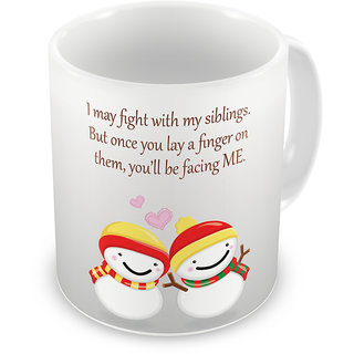 Indigifts Rakhi Gifts for Brother Siblings Moments Quote Printed White Coffee Mug 325 ml - Raksha Bandhan Gifts for Brother Sister on Birthday & Anniversary