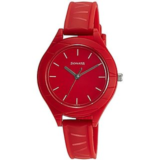 Sonata 87023PP01 Color Pop Analog Red Dial Girls Watch (87023PP01)