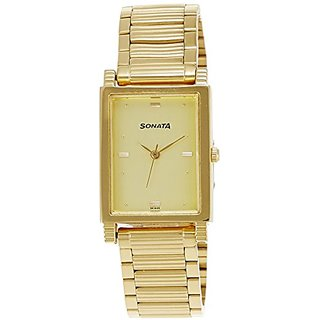Sonata Analog Gold Dial Mens Watch - NF7058YM02A