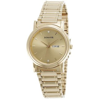 Sonata Analog Gold Dial Mens Watch - NC1141YM10