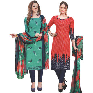 Saiprasad Womens Sunday Monday 2 Tops Concept Unstitched Dress Material  With Dupatta