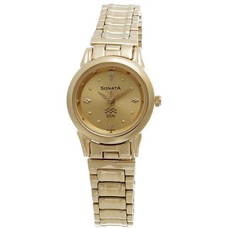 Sonata Analog Gold Dial Womens Watch - ND8925YM02J