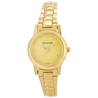 Sonata Economy Analog Champagne Dial Womens Watch - ND2191YM03
