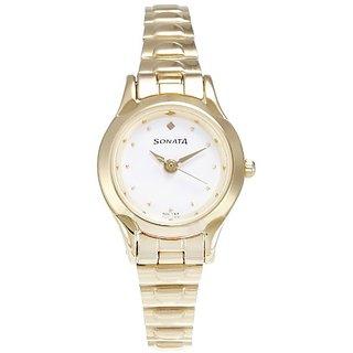 Sonata Analog white Dial Womens Watch - 8098YM01