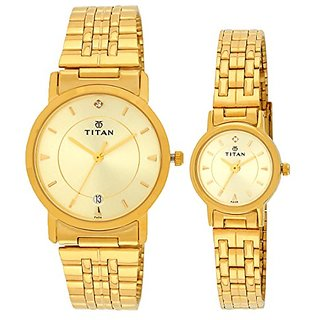 Titan Bandhan Analog Silver Dial Couples Watch - NC617917YM04