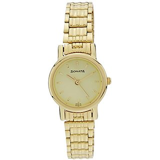 Sonata Analog Gold Dial Womens Watch - 8976YM09J