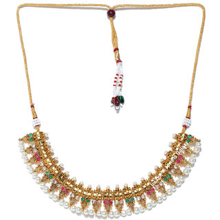 Jewels Galaxy Graceful Pearls Studded Custom Design Magnificent Gold Plated Colorful Traditional Necklace Set For Women/