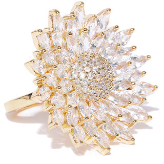 Jewels Galaxy Sparkling White AAA CZ Floral Gold Plated Traditional Adjustable Zircon Ring For Women/Girls