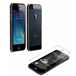 FCZ Combo of Black Metal Bumper and Tempered Glass for IPhone 5/5s
