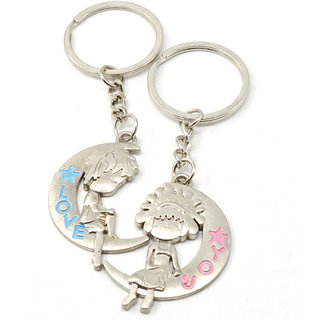 Love you couple With Love Moon design Key Chain Gifting for Valentine Day