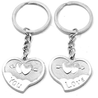 Love You Twin Heart couple Design Key Chain Gifting for Valentine Day