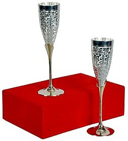 Satya Mart Silver Plated Brass Premium Goblet Champagne/Wine Glasses Set Of 2 With Velvet Box