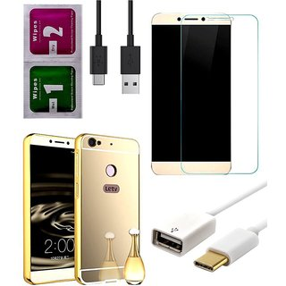 5 in 1 Combo of Golden Aluminum Metal Bumper Mirror PC Back Case Cover for Leco Le 1s