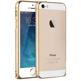 Blue Store Gold Dual Tone Gold Lined Metal Bumper Case Cover For Iphone 5/5s