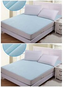 Luxmi Set of 2 Non Woven Fabric Waterproof Double Bed Mattress Protector Sheet with Elastic Strap - Blue