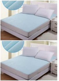 luxmi enterprises. Set of 2 Nonwoven Fabric Waterproof Double Bed Mattress Protector Sheet with Elastic Strap - Blue