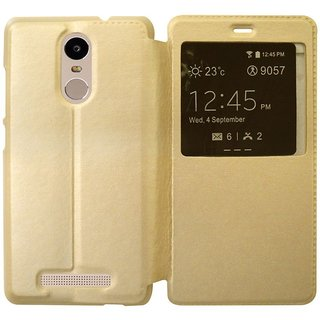 Redmi Note 3 Flip Cover by coverage - Golden