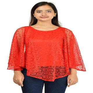 Timbre Women / Girls Partywear Red Net Poncho Top
