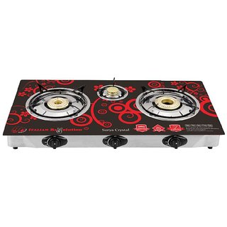SURYA CRYSTAL AUTOIGNITION 3 BURNER COOKTOP GAS STOVE