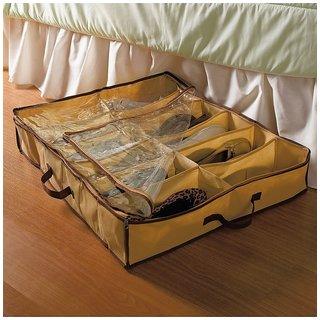Portable 12 Pair Shoes Under Bed Shoe Storage Bag Shoe Organizer with Transparent Cover