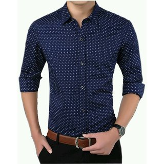 Frankline Navy Blue Cotton Casual Dotted Shirt Slim Fit