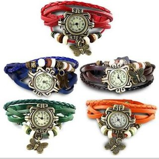 Vintage Round Dial Leather Analog Watch For Women