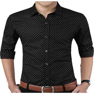Frankline Men's Casual Slim Fit Shirt - Black Casual Dotted Shirt for Men