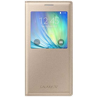 Samsung Synthetic Flip Cover Case For Samsung Galaxy A7 - Golden