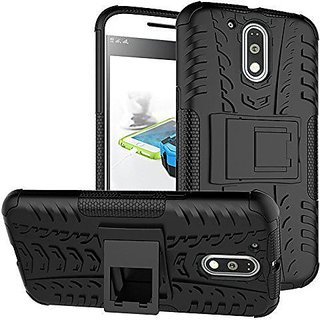 Wow Imagine Defender Tough Hybrid Armour Shockproof Hard PC + TPU with Kick Stand Rugged Back Cover for Moto G Plus 4th Gen