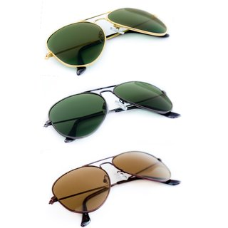 TheWhoop Triple Combo UV Protected New Stylish Aviator Green And Brown Unisex Sunglasses For Men, Women, Girls, Boys