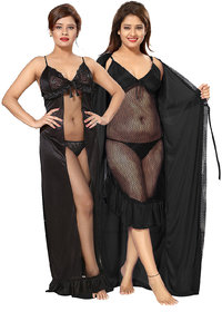Be You Black Net Women Nighty Combo Pack
