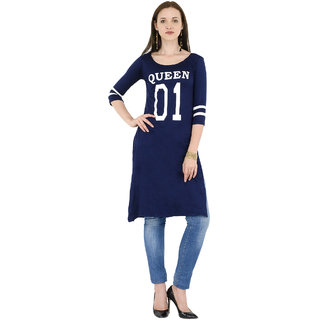 BuyNewTrend Women's Navy Printed U-Neck Wrap Tops