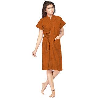 Be You Tan Brown Solid Cotton Women Bath Robe