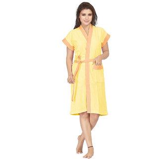 Be You Yellow Two-Tone Cotton Women Bath Robe