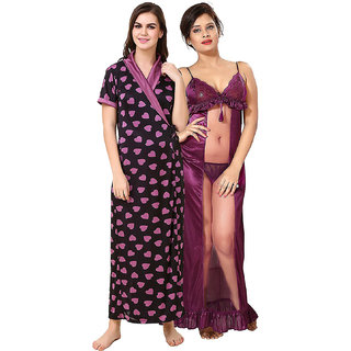 Be You Purple Printed Women Nighty Pack of 2