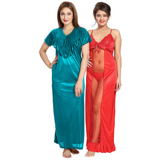 Be You Multicolor Solid Women Nighty Pack_2 pcs Set