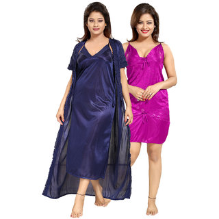 8a4ef70bab Buy Be You Multicolor Solid Women Nighty Combo Pack Online - Get 22% Off