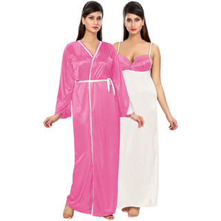 Be You Light Pink Solid Women Nighty with Robe