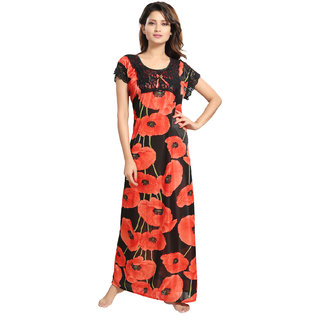 Be You Red Floral Women's Night Gown