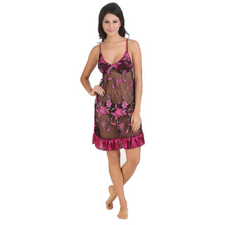Be You Pink Embroidered Women Babydoll