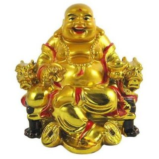 Rebuy Laughing Buddha On Chair With Ingot And Money Coin For Health, Wealth And Happiness