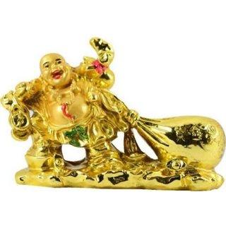 RebuyVastu laughing buddha drag the money potli Showpiece