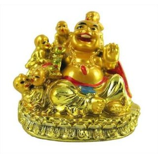 Rebuy Happy Man Laughing Buddha Holding  and Sitting with 5 Kids / Five Children For Attracting Happiness in Family, Des