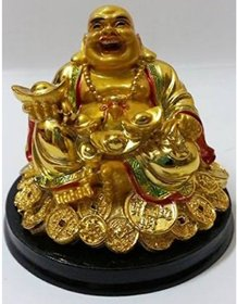 Rebuy Laughing Buddha Sitting on Luck Money Coins carrying Golden Ingot for Good luck  Happiness