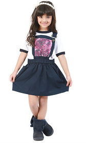 Kidopedia Dungaree For Girls Casual Floral Print Cotton (Dark Blue, Pack of 1)