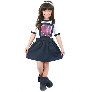 Kidopedia Dungaree For Girls Casual Floral Print Cotton (Dark Blue Pack of 1)